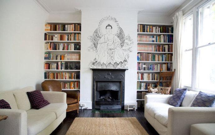 美式风格书房手绘