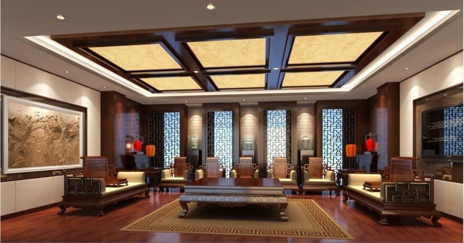 一居室中式风格_陶瓷展厅新古典风格图装修效果图