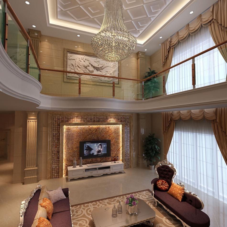 复式楼现代风格_紫帽别墅客厅装修效果图-x团装修网图片