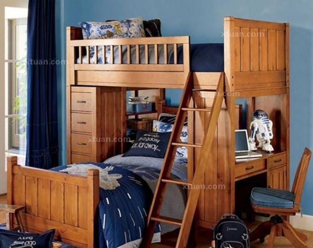 一居室现代风格_儿童床双层床设计装修效果图-x团装修