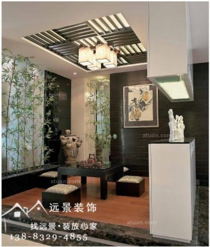 别墅中式风格_隆鑫天雨方新中式装修效果图-x团装修