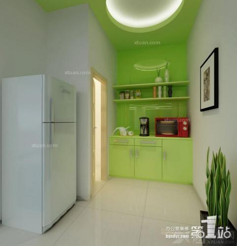 绿色系列办公室设计装修效果图-x团装修网