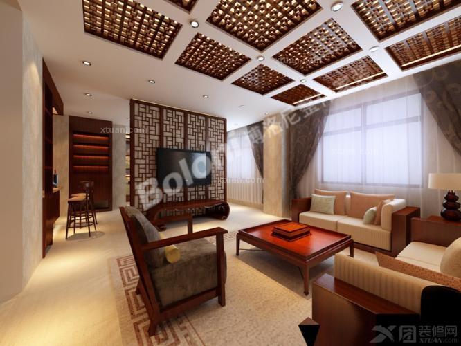 三居室户型连体客餐厅设计新中式风格!