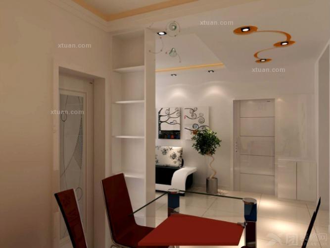 三居室现代风格_两室两厅装修效果图-x团装修网