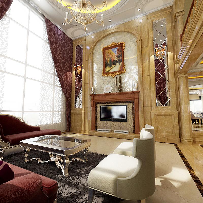 别墅欧式风格_碧桂园450平欧式风格(理石)装修效果图图片