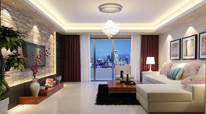 世茂铂翠湾|98平现代简约风格2室2厅|装修效果图-长沙实创装饰