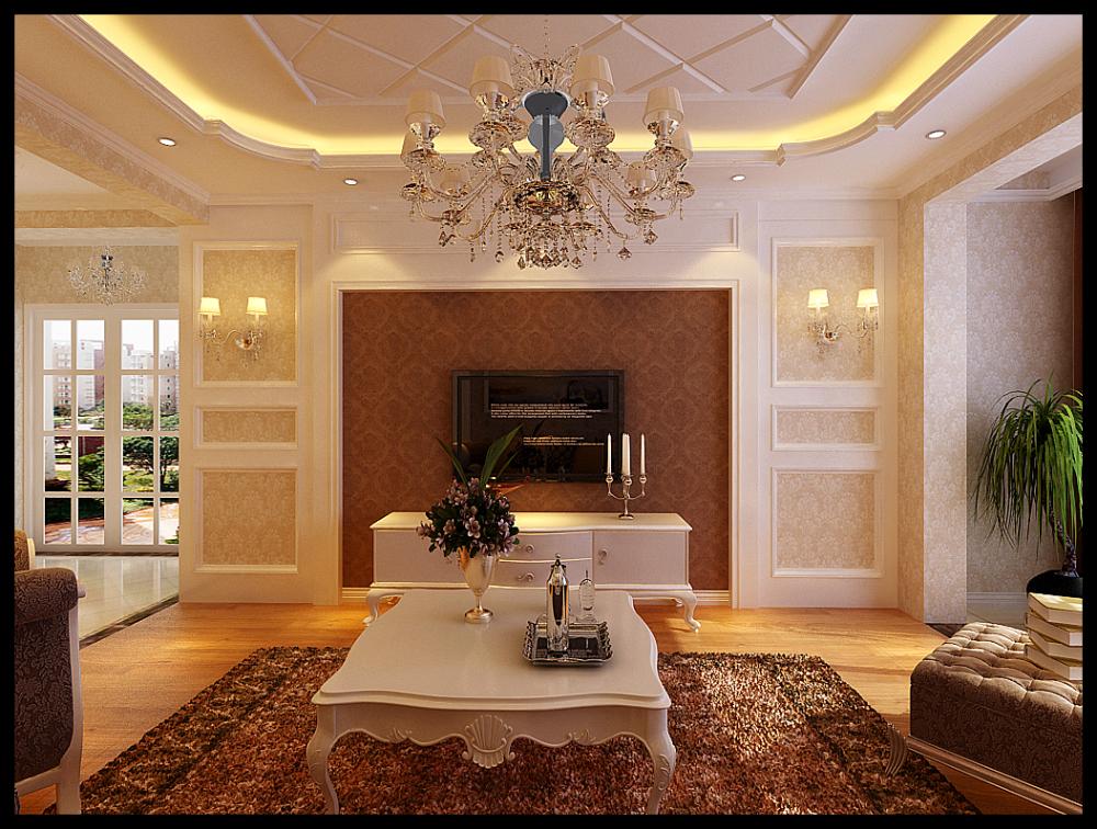 两居室欧式风格_碧桂园银河城128平装修效果图-x团图片