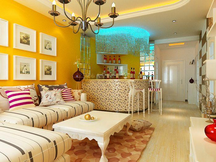 设计理念:设计师把本案设计为田园风格的家居,橘色的墙面装饰在灯光的映照下,弥漫着温暖的阳光感,流线的飘窗设计,线条圆润的吊顶,展现着曲线流动的美感,白色加线条的沙发,并列而开的装饰,与背景颜色形成了对比,丰富了室内的视觉层次感。 隐藏更多