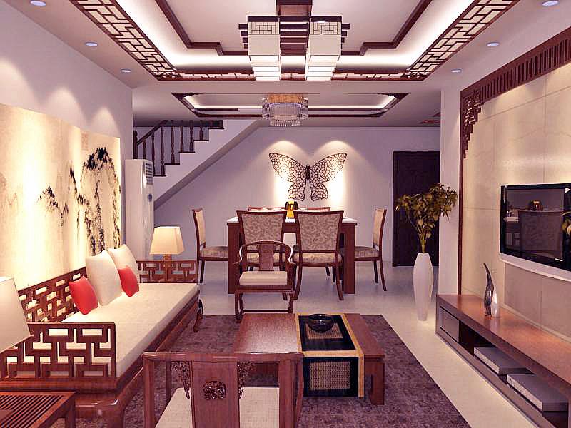复式楼中式风格_一楼客餐厅装修效果图-x团装修网图片