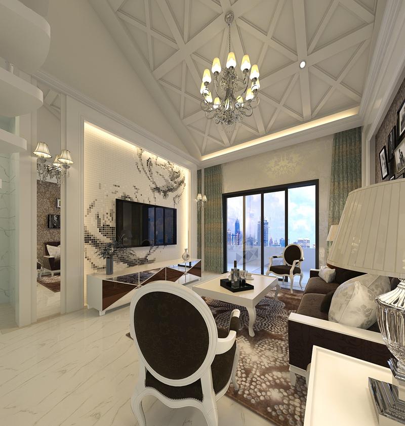 两居室现代风格_紫金家园小区装修效果图-x团装修网图片