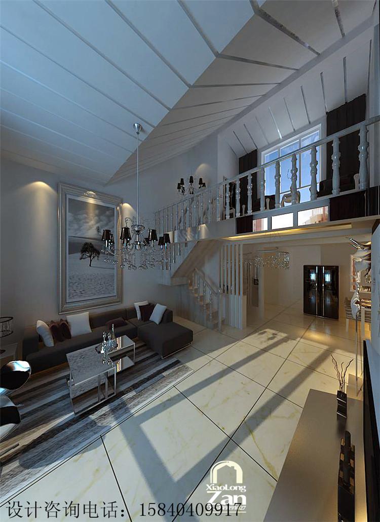 保利上林湾现代简约风格阁楼设计效果图图片