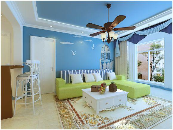 上海锦绣华都三居室户型地中海风格设计装修效果图图片