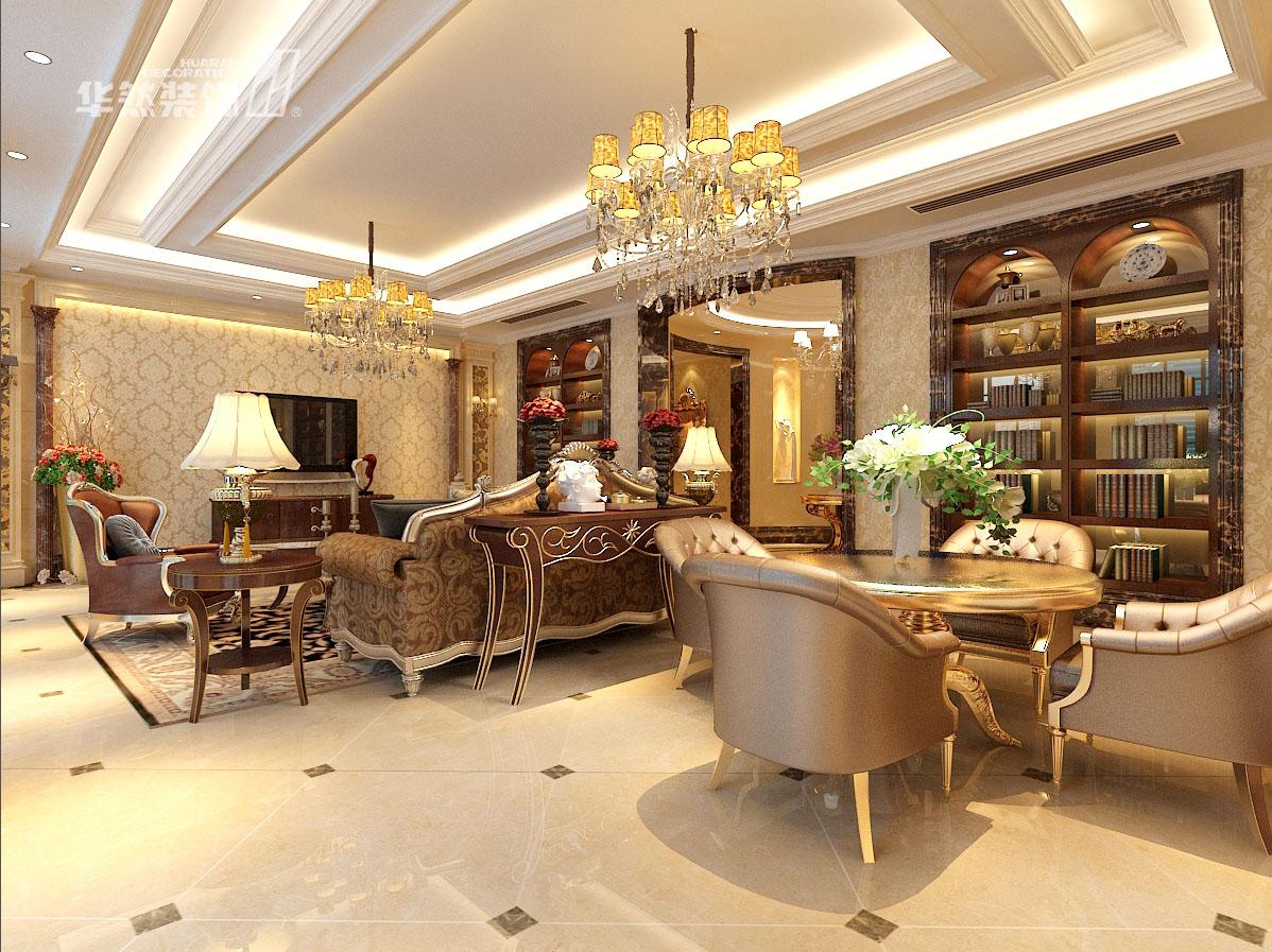 别墅欧式风格_玫瑰园别墅380平客厅装修效果图-x团