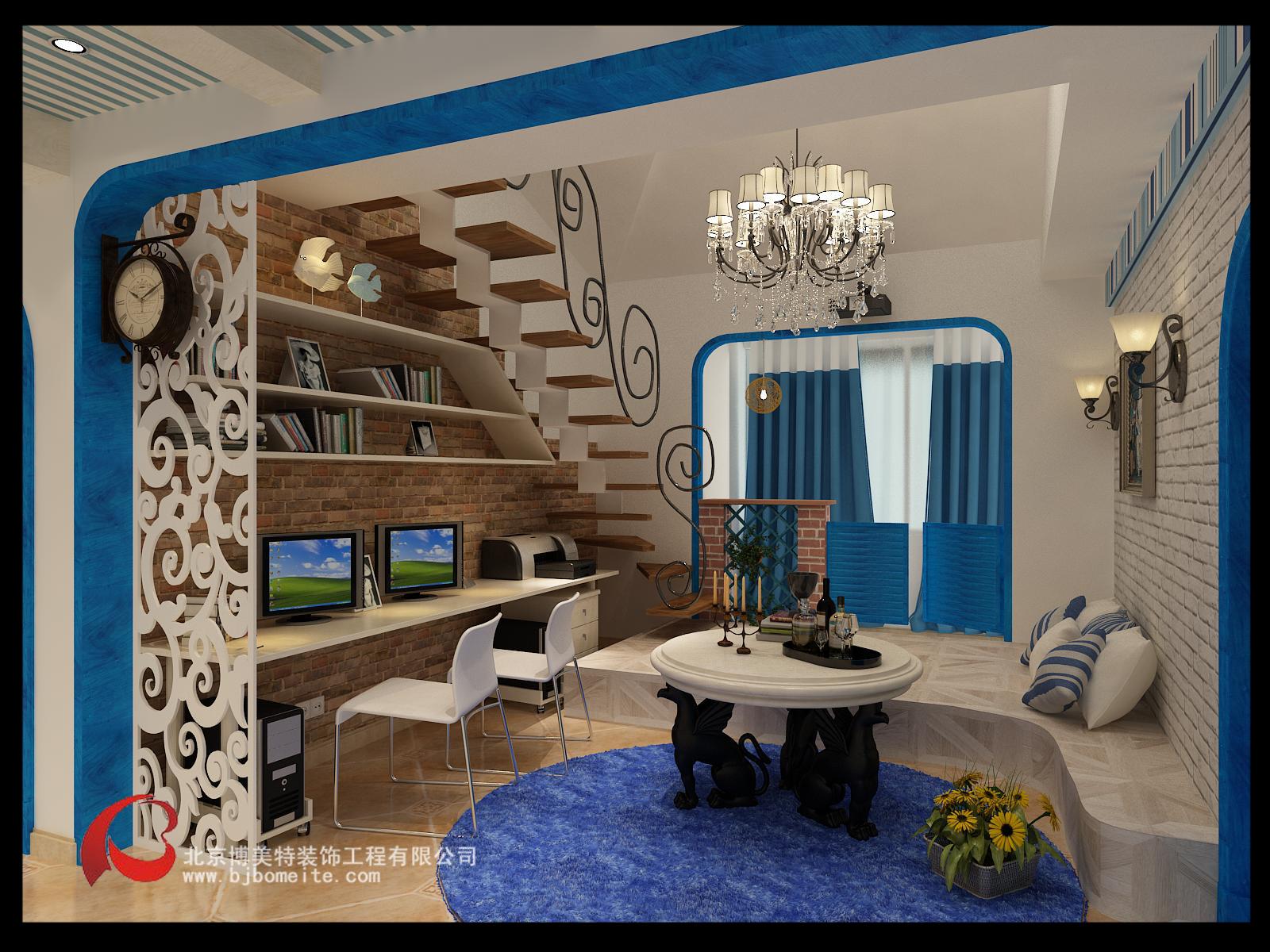 复式楼地中海风格_客厅装修效果图图片