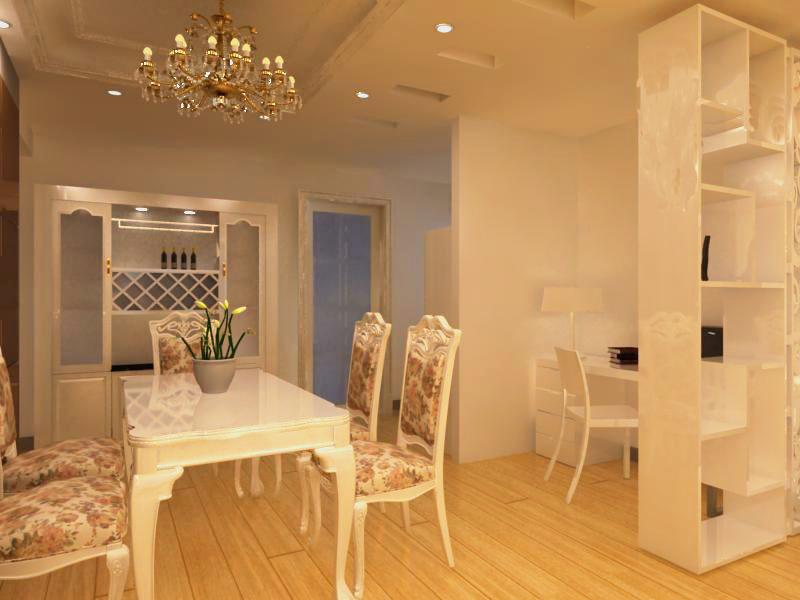 三居室欧式风格_改后餐厅及酒柜装修效果图-x团装修网图片