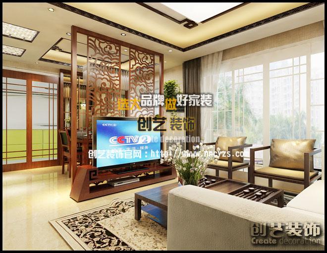同人学府-110㎡-时尚新中式四居室装修效果图图片