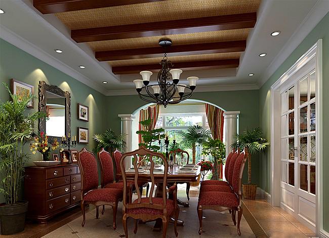 别墅美式风格餐厅_餐厅装修效果图-x团装修网图片