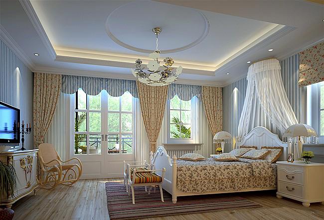 别墅美式风格小卧室_女儿房装修效果图-x团装修网