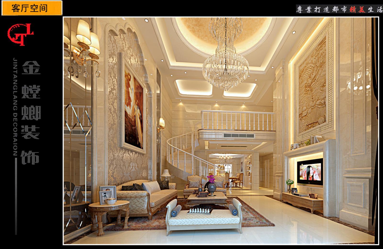 复式楼简欧风格客厅沙发背景墙