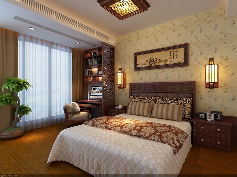 三室两厅中式风格卧室_客卧设计装修效果图