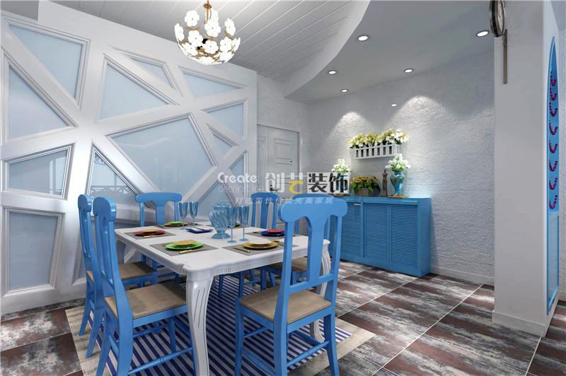 三居室地中海风格餐厅照片墙