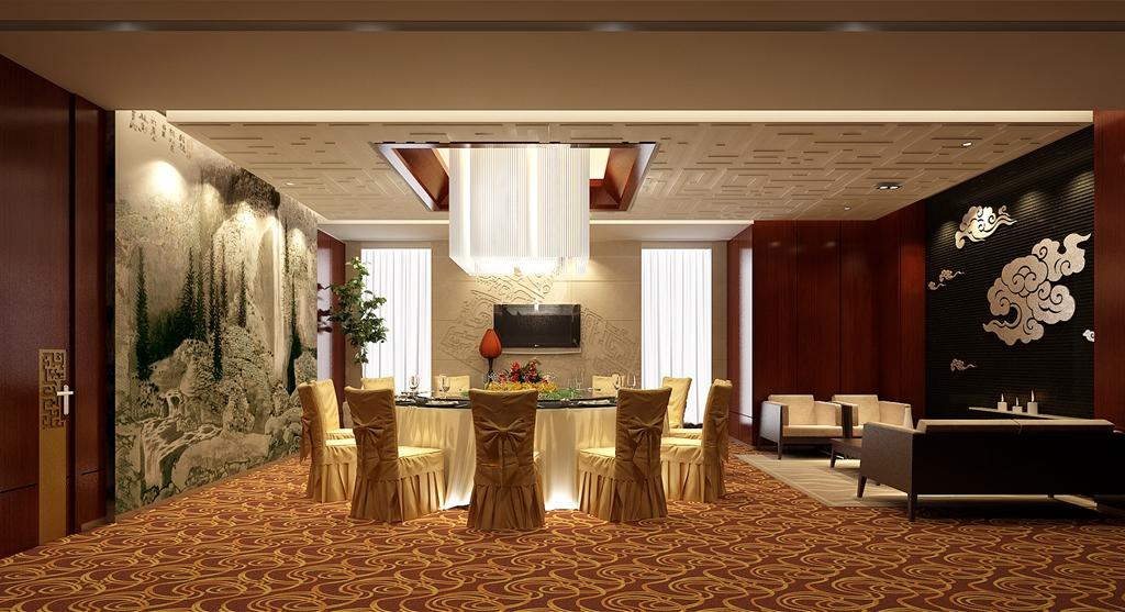 中式风格_xx海鲜大酒楼装修效果图-x团装修网