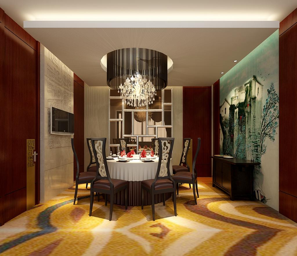 中式风格_xx海鲜大酒楼装修效果图-x团装修网图片