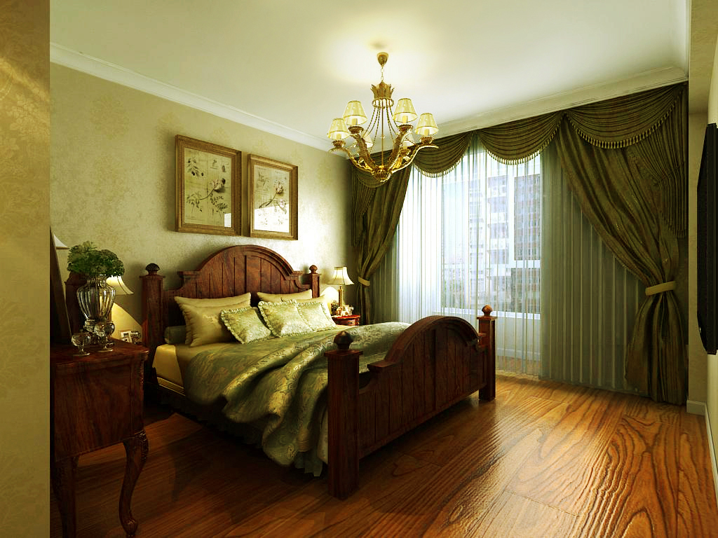 三居室简欧风格主卧室图片