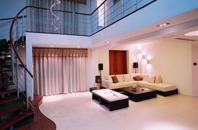 复式楼现代简约客厅_万科湖心岛装修效果图-x团装修网