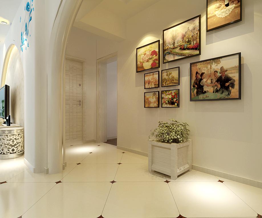 三居室韩式风格过道照片墙_韩式