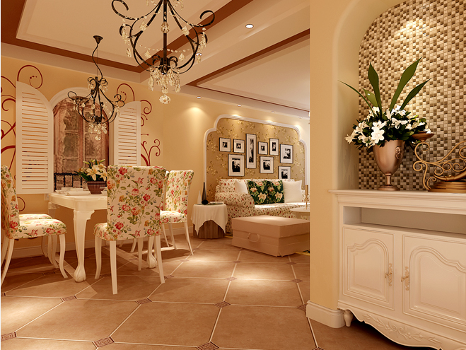 两居室田园风格餐厅_保利新天地-二居室-93平米-装修
