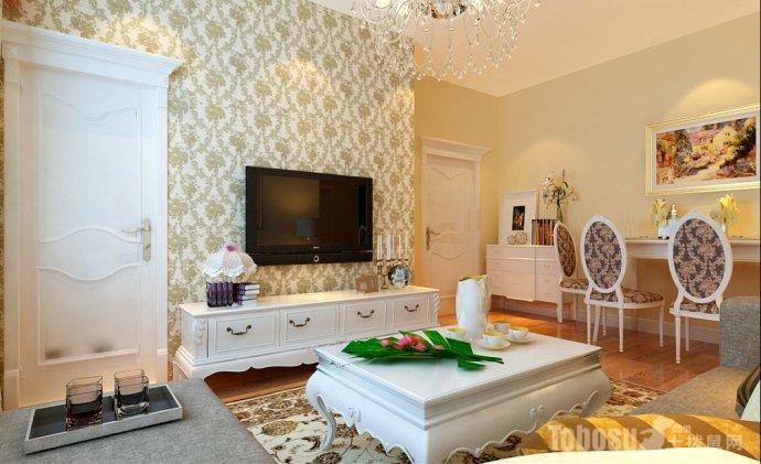 两居室简欧风格卧室背景墙