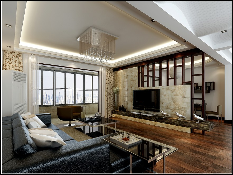 三居室现代风格客厅电视背景墙