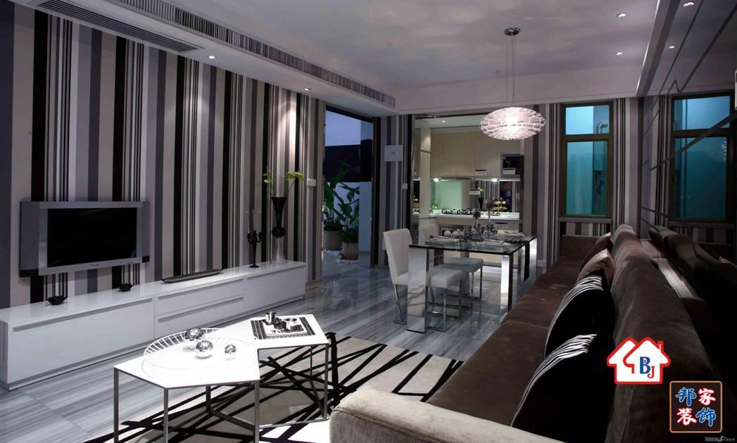 两室两厅现代风格客厅沙发背景墙
