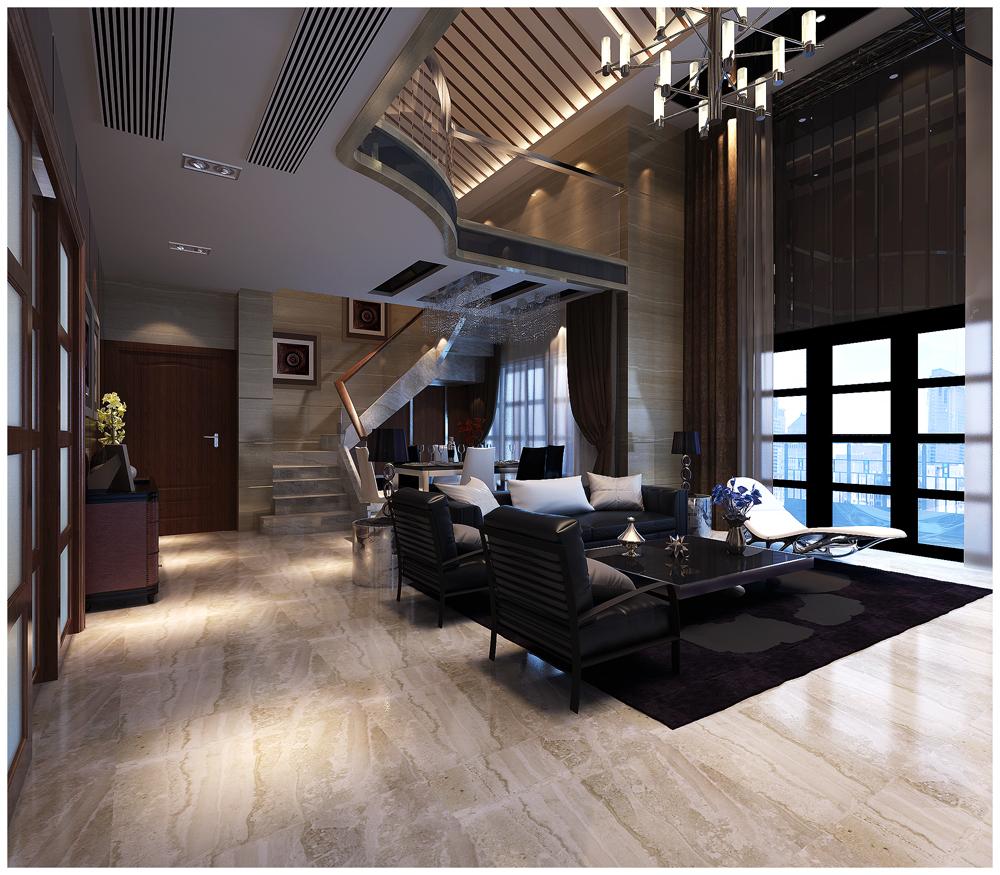 复式楼混搭风格客厅图片