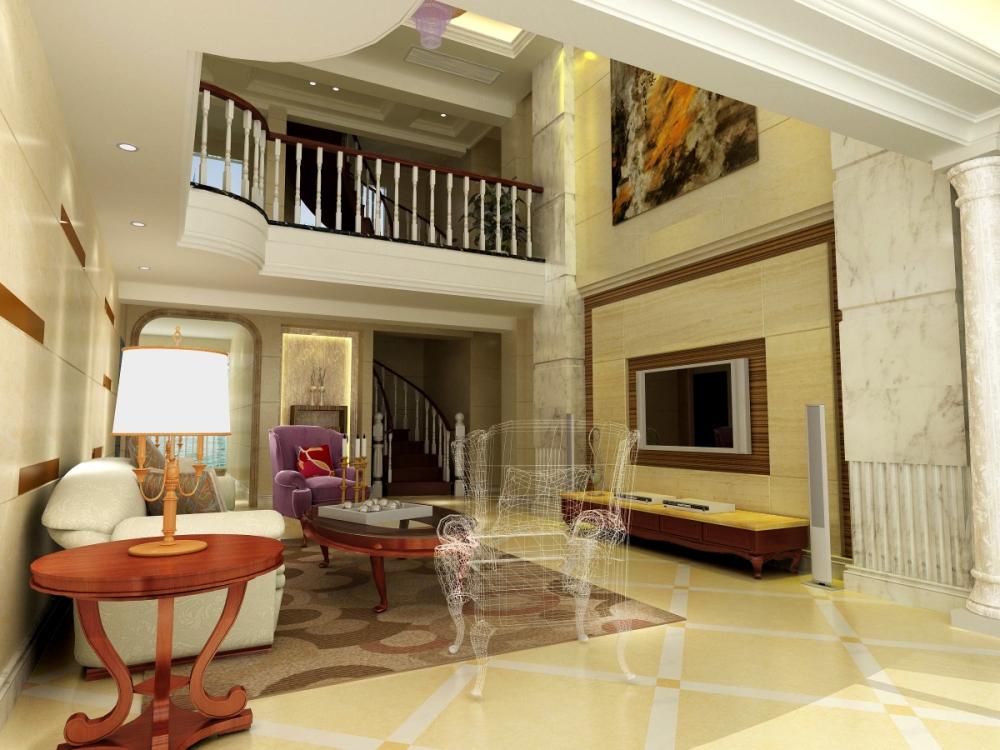 三居室欧式风格客厅_南安楼中楼装修效果图-x团装修