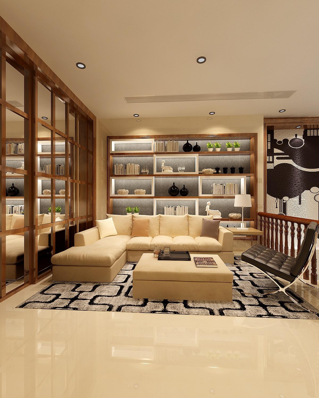 别墅混搭风格客厅沙发背景墙