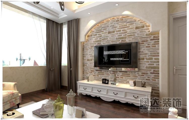 三居室欧式风格客厅_西山区城市山88平方米简欧风格b