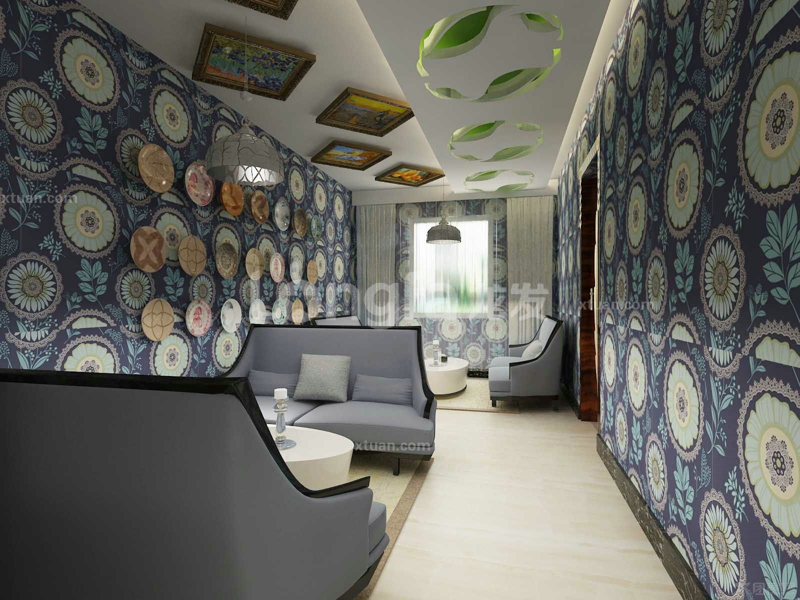 美式风格_咖啡厅设计装修效果图-x团装修网