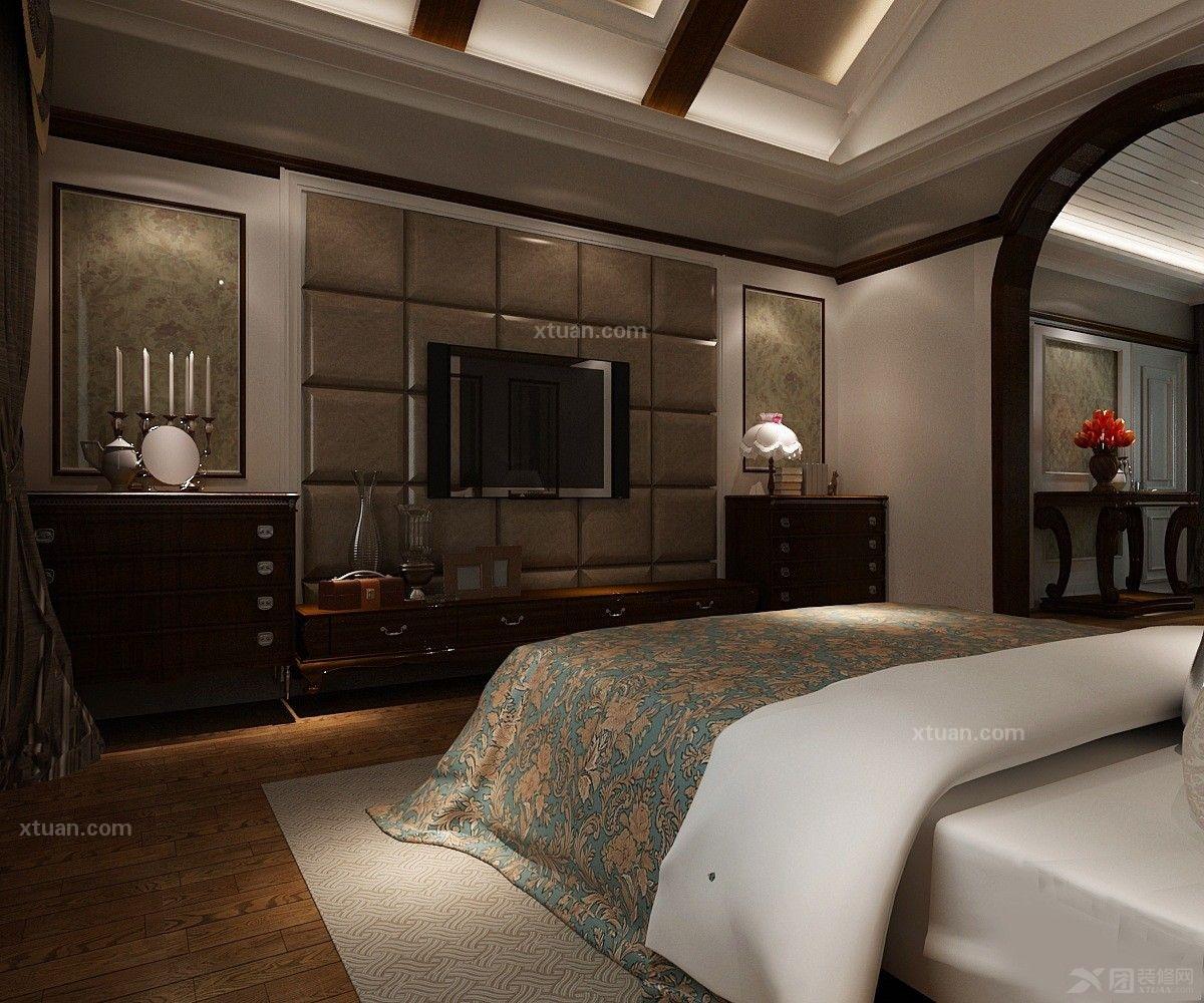 独栋别墅美式风格客厅沙发背景墙_山水凤凰城装修效果图片