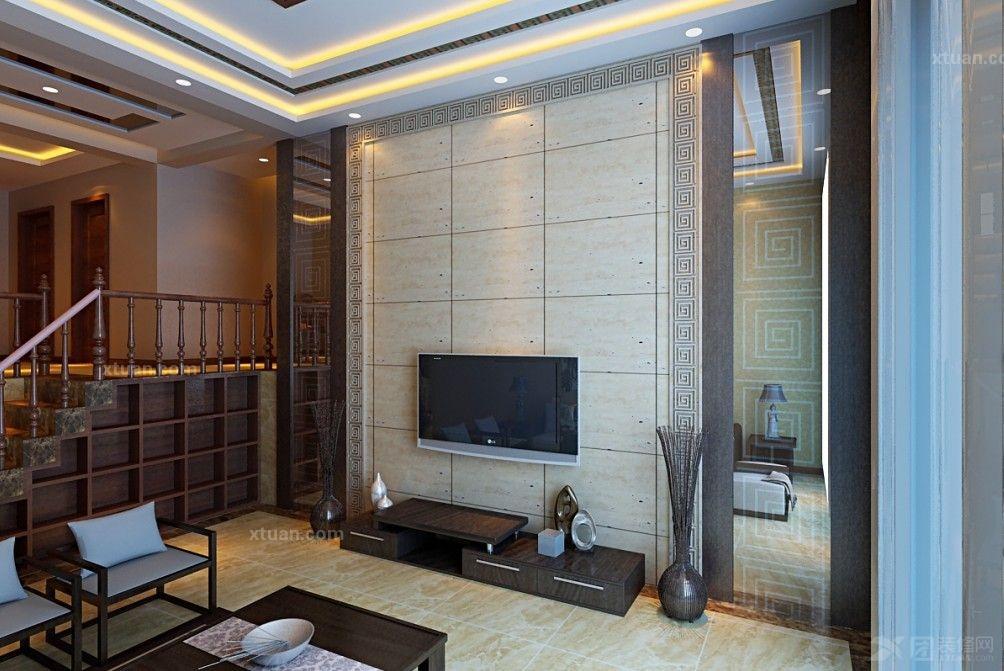 复式楼客厅电视背景墙_华侨城180平方新中式