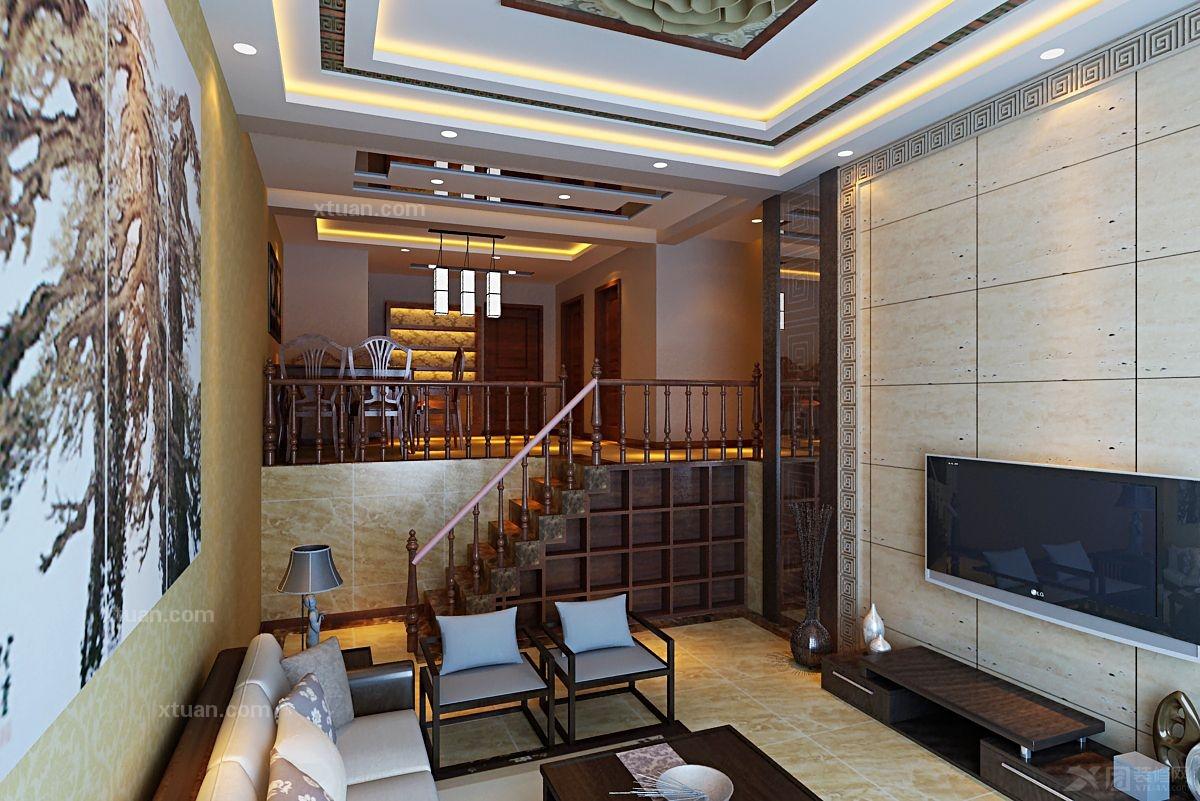 复式楼客厅电视背景墙_华侨城180平方新中式装修效果图片