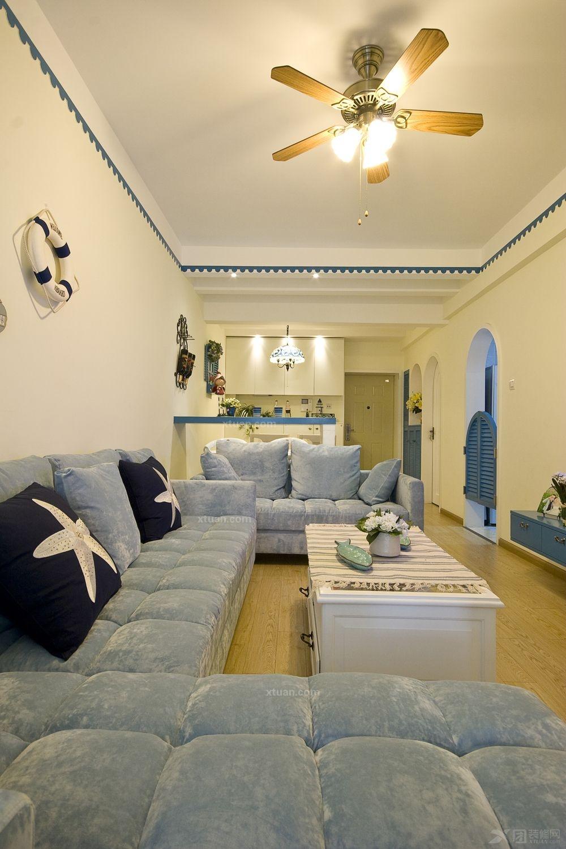 三居室地中海风格客厅照片墙