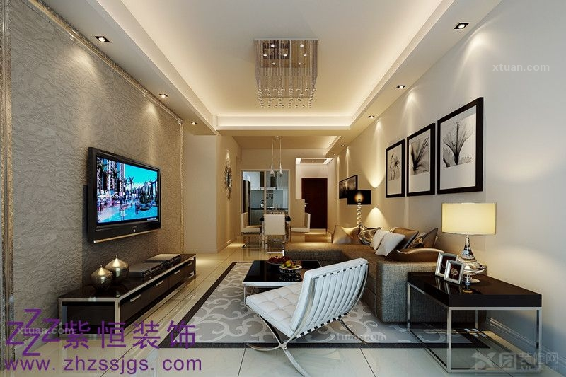 中骏·蓝湾香郡普通住宅2室1厅1卫简约风格装修案例效果图