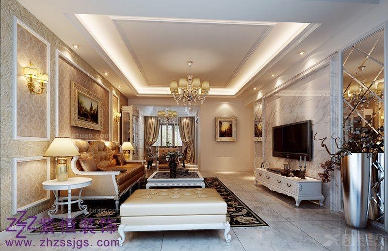 三室两厅简欧风格客厅电视背景墙_万豪·香江国际4#32
