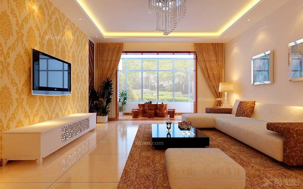 三室一厅现代风格客厅影视墙