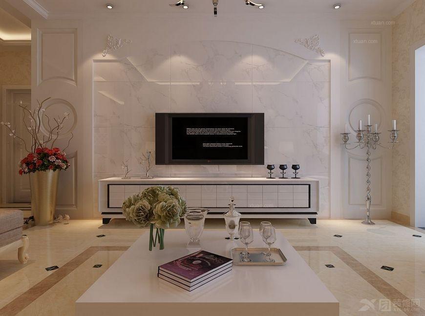三居室欧式风格卧室电视背景墙