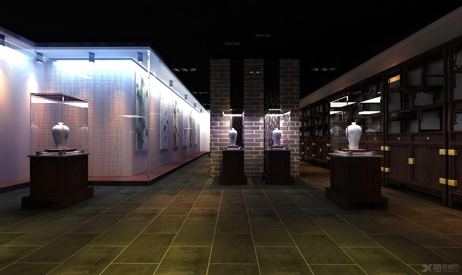中式风格_字画展厅装修效果图-x团装修网