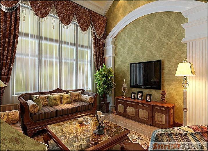 两室两厅美式风格客厅沙发背景墙图片