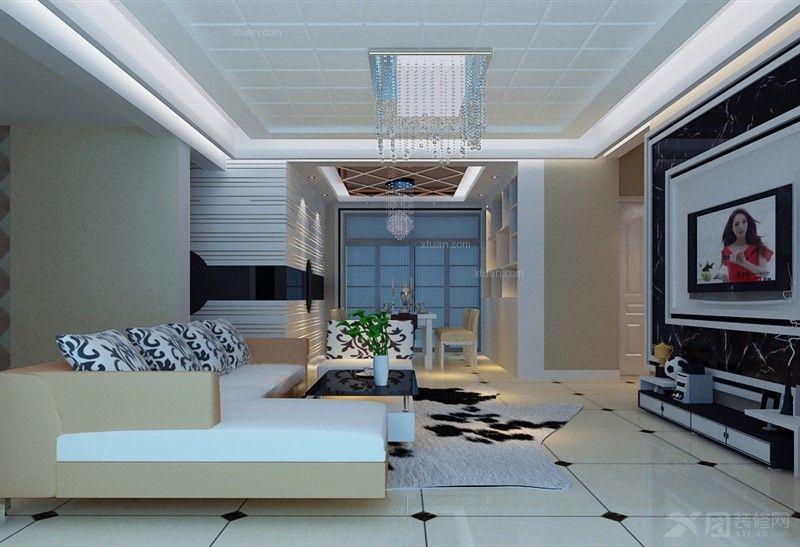 三居室现代风格卧室电视背景墙